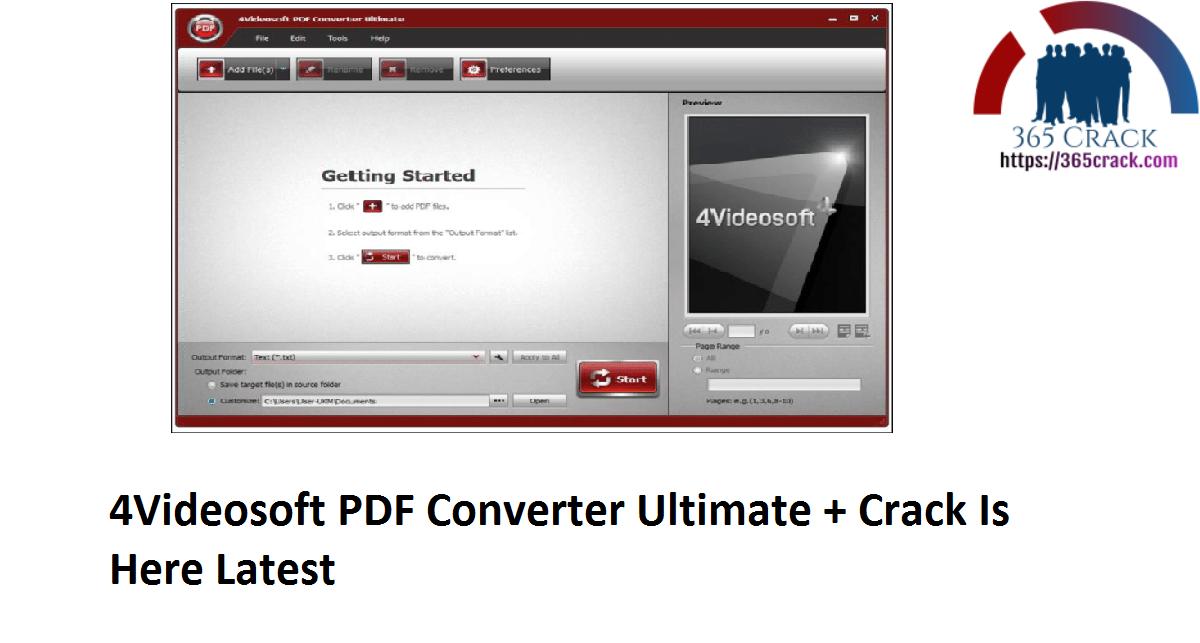 4Videosoft PDF Converter Ultimate + Crack Is Here Latest