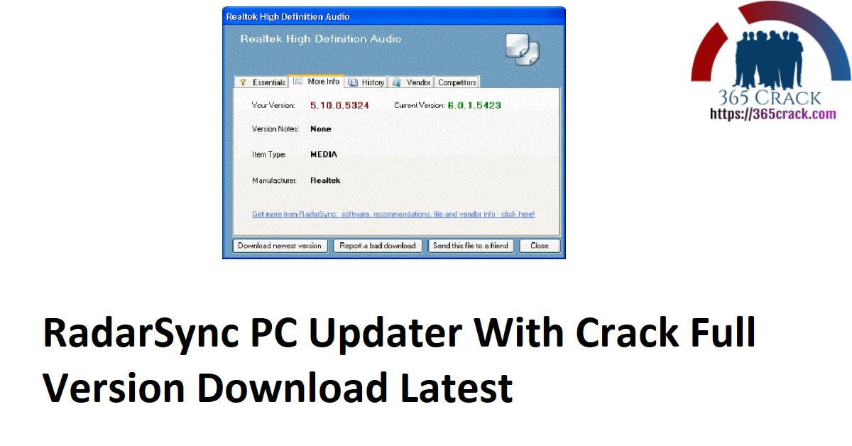 RadarSync PC Updater With Crack Full Version Download Latest