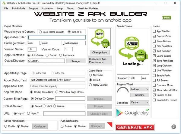 Website 2 APK Builder Pro Crack With Activation Key Download