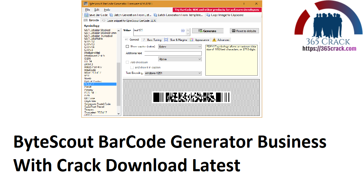 ByteScout BarCode Generator Business With Crack Download Latest