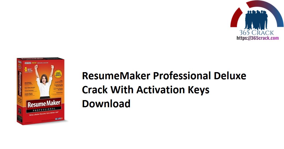 ResumeMaker Professional Deluxe Crack With Activation Keys Download